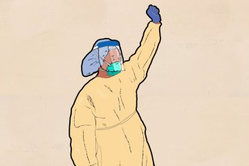 illustration of health worker with raised fist